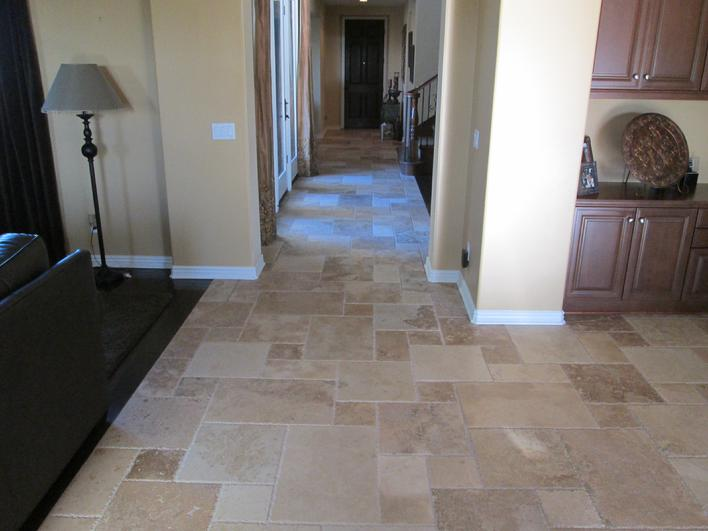 Custom tile installation in san diego la jolla del mar encinitas professional installation sealing of chiseled edge versailles pattern travertile tile flooring in san diego poway area ppazfo