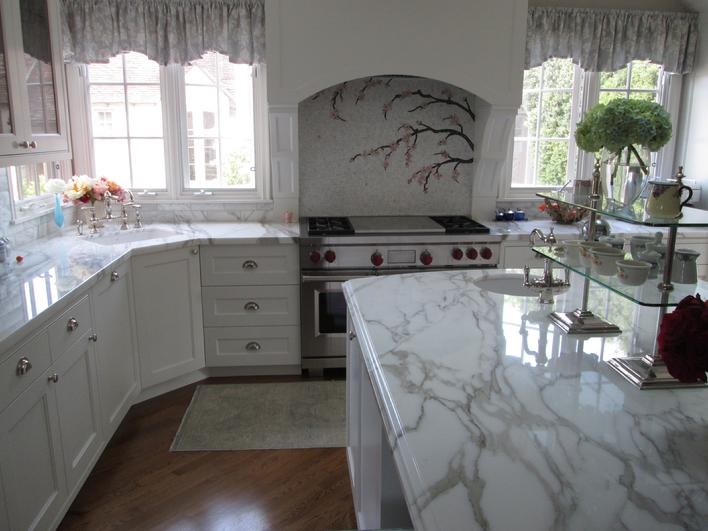 With Calcutta Marble Countertops For A Kitchen Remodel In San Diego. Custom Tile  Installation Contractor Servicing San Diego, North East U0026 South ...