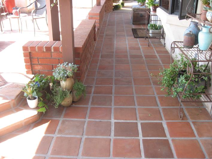 AFTER PICTURE Of Complete Restoration Of Stripping Cleaning And Resealing  Tecate Mexican Pavers For An Outdoor Patio In San Diego Fallbrook  California Area.