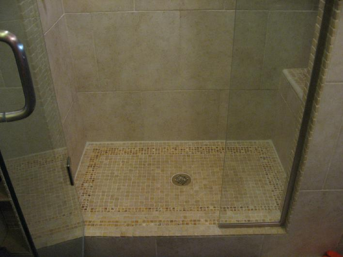 Charming Travertine Mosaic Tiles For The Shower Pan And Curb. Notice The Precise  Cuts Around The Drain. And The Caulking Around The Perimeter Of The Shower  Pan To ...