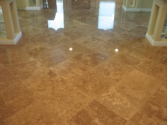 Installation Of 18 Inch Polished Travertine Tile Flooring On A Diagonal  Layout In San Diego.
